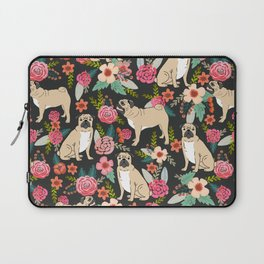 Pugs of spring floral pug dog cute pattern print florals flower garden nature dog park dog person  Laptop Sleeve