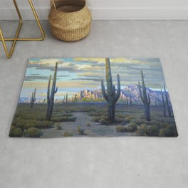 Superstition Mountains and Desert Landscape by John Marshall Gamble Rug