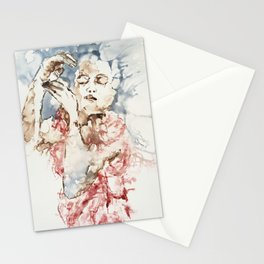 Sleeping girl in pink Stationery Cards