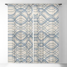 Blue Thin Overlapping Horizontal Lines Pattern on Beige - 2020 Color of the year Chinese Porcelain Sheer Curtain
