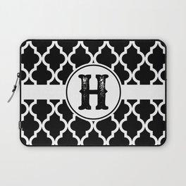 Black Monogram: Letter H Laptop Sleeve