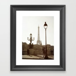 Eiffel Tower and lamp posts Framed Art Print