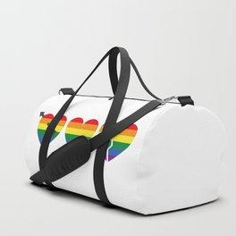 Hearts with gay flag (gay pride) Duffle Bag