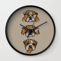 english bulldog Wall Clocks featuring Noevil English Bulldog by Huebucket