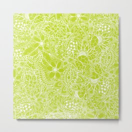 Modern white hand drawn floral lace illustration on lime green punch Metal Print