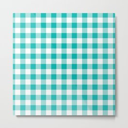 Small Aqua & White Vichy Metal Print