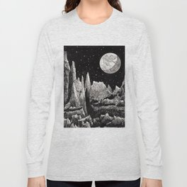 View of Earth from a very rocky moon - 1911 Space Landscape Fantasy Science Fiction Landscape Astro Long Sleeve T-shirt