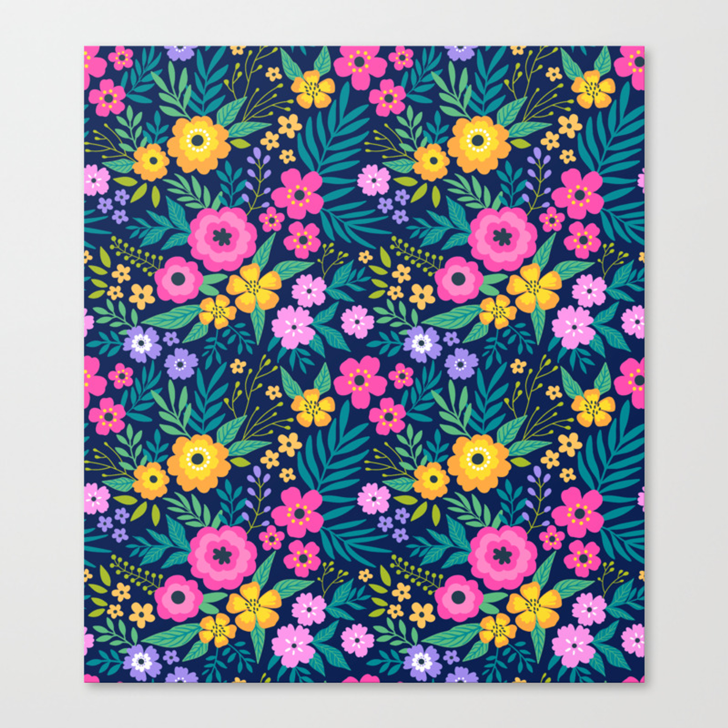 23 Amazing Floral Pattern With Bright Colorful Flowers Dark Blue