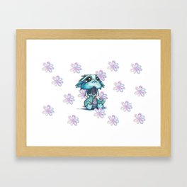 Baby Dragon with Flowers Framed Art Print