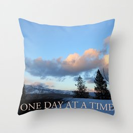 One Day at a Time Rooftop, Hills, and Trees Throw Pillow