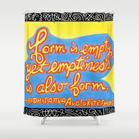 buddhism Shower Curtains featuring Buddhism words of Bodhisattva Avaloketeshvara painted and lettered by Sasso by ART to GO Sasso