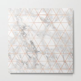 Rose Gold & Marble Triangles Metal Print