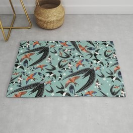 Swallows Martins and Swift pattern Turquoise Rug