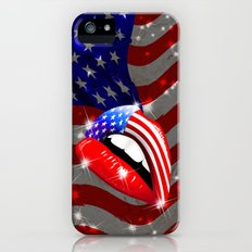 USA Flag Lipstick on Sensual Lips Slim Case iPhone (5, 5s)