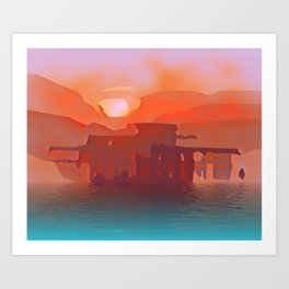 Brighton Pier Sunset Red. Art Print