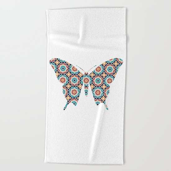 BUTTERFLY SILHOUETTE WITH PATTERN Beach Towel