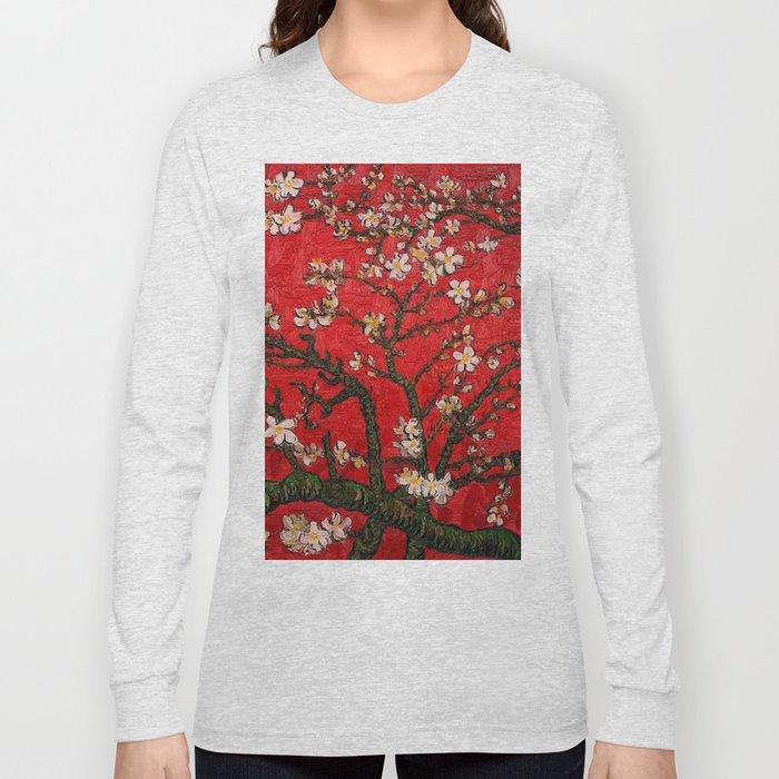 Almond Blossoms Red Vincent Van Gogh Long Sleeve T-shirt