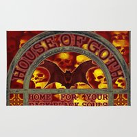 goth Area & Throw Rugs featuring HOUSE OF GOTH - 116 by Lazy Bones Studios