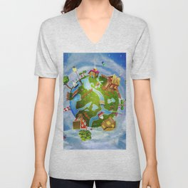 A spring day on planet Earth: a green cartoon world with houses, flowers,sea, trees ,clouds Unisex V-Neck
