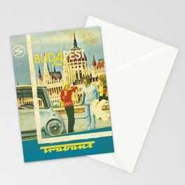 Retro Trabant advertisement with Parliament, Budapest Stationery Cards