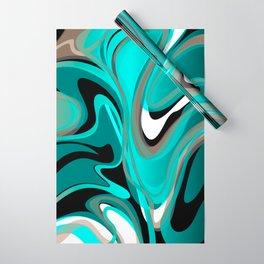 Liquify 2 - Brown, Turquoise, Teal, Black, White Wrapping Paper