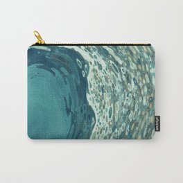 Teal Crescent Wave Carry-All Pouch