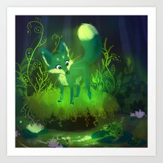 Green Fox Art Print