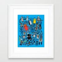 robots Framed Art Prints featuring ROBOTS! by Chris Piascik