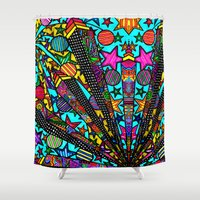 buildings Shower Curtains featuring Buildings  by Marcela Caraballo