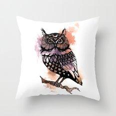 Owl Splash Throw Pillow