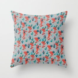 PICKING CACTUS -gray Throw Pillow