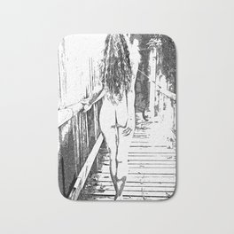 Girl at the bridge, sexy nude woman outdoors, erotic under waterfall, adult black and white artwork Bath Mat
