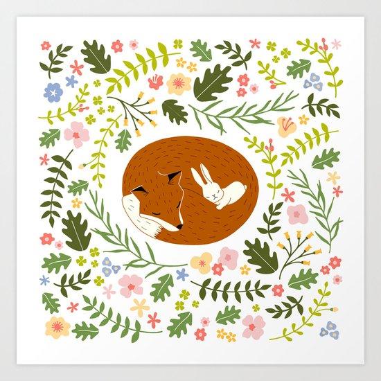 Friendship in Wildlife_Fox and Bunny_Bg White Art Print