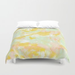 Marble Mist Yellow Green Pink Duvet Cover
