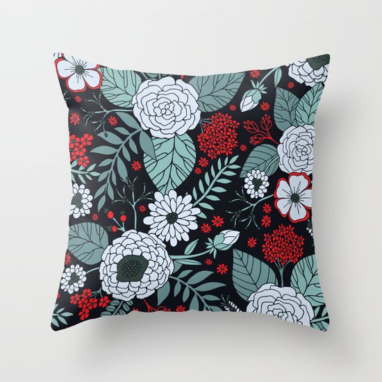 Red, Gray, Aqua & Navy Blue Floral/Botanical Pattern by somecallmebeth