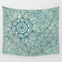 emerald Wall Tapestries featuring Emerald Green, Navy & Cream Floral & Leaf doodle by micklyn
