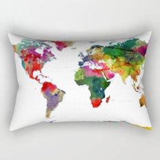 Watercolor World Map #3 Rectangular Pillow