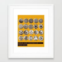 world cup Framed Art Prints featuring World Cup Footballs by Thomas Orrow