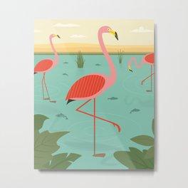 Flamingos And Fishes Metal Print