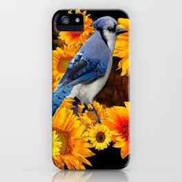 DECORATIVE BLUE JAY YELLOW SUNFLOWERS BLACK ART iPhone Case