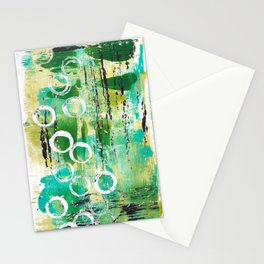 Abstract in Greens Stationery Cards