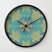 henna Wall Clocks featuring Blue Henna by Truly Juel