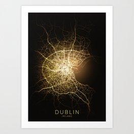 dublin Ireland city night light map Art Print