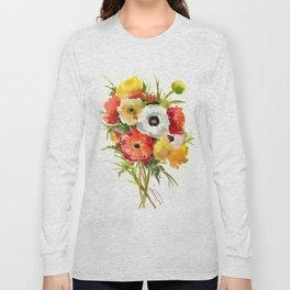 Flowers, Buttercups, orange red white yellow garden floral design Long Sleeve T-shirt