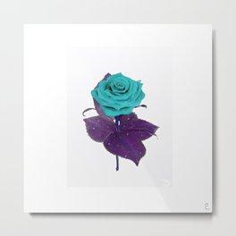 Single Standing Rose (Blue) Metal Print