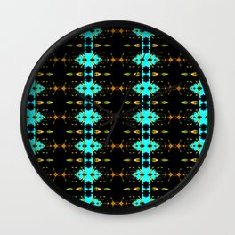 Gold and blue stripy fractal pattern Wall Clock