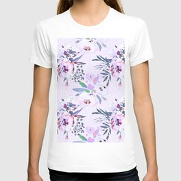 Elegant pink lilac teal watercolor floral stripes T-shirt