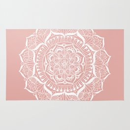 White Flower Mandala on Rose Gold Rug
