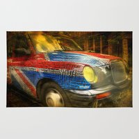 taxi driver Area & Throw Rugs featuring Taxi by Svetlana Sewell