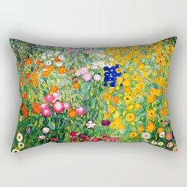 Flower Garden by Gustav Klimt vibrant Rectangular Pillow
